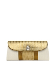 Indian Rain Off-White & Gold Toned Talullah Clutch