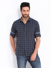 Indian Terrain Men Blue & Green Checked Slim Fit Casual Shirt