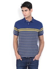 Indian Terrain Men Blue & Grey Melange Striped Polo T-shirt