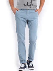 Indian Terrain Men Blue Brooklyn Slim Fit Trousers