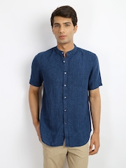 Indian Terrain Men Blue Linen Slim Fit Casual Shirt
