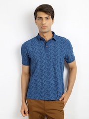 Indian Terrain Men Blue Printed Polo T-shirt