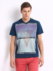 Indian Terrain Men Blue Printed T-shirt