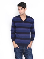 Indian Terrain Men Blue Striped Sweater