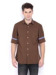 Indian Terrain Men Brown Checked Slim Fit Casual Shirt