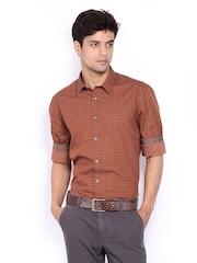 Indian Terrain Men Brown Printed Slim Fit Casual Shirt
