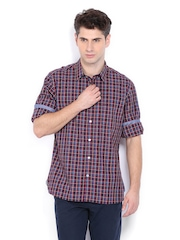 Indian Terrain Men Burgundy & Blue Checked Slim Fit Casual Shirt