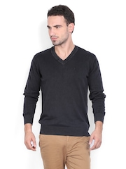 Indian Terrain Men Charcoal Grey Sweater