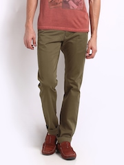 Indian Terrain Men Dark Khaki Brooklyn Slim Fit Casual Trousers