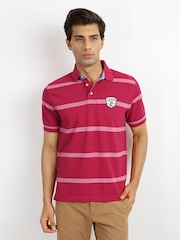 Indian Terrain Men Dark Pink Pique Striped Polo T-shirt
