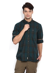 Indian Terrain Men Green & Black Checked Slim Fit Casual Shirt