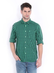 Indian Terrain Men Green & Navy Checked Slim Fit Casual Shirt