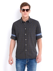 Indian Terrain Men Brown & Navy Checked Slim Fit Casual Shirt