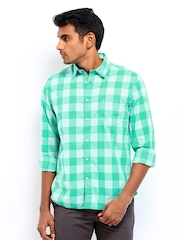 Indian Terrain Men Green Checked Slim Fit Casual Shirt
