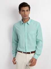 Indian Terrain Men Green Slim Fit Smart-Casual Shirt