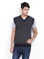 Indian Terrain Men Black & Grey Striped Sweater