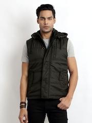 Indian Terrain Men Coffee Brown Hooded Sleeveless Jacket