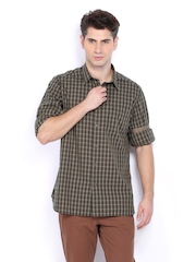 Indian Terrain Men Khaki & Green Checked Slim Fit Casual Shirt