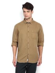 Indian Terrain Men Khaki Linen Blend Slim Fit Casual Shirt