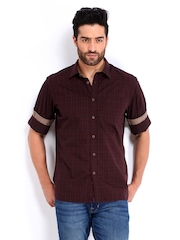 Indian Terrain Men Maroon Checked Slim Fit Casual Shirt