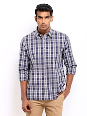 Indian Terrain Men Navy & Brown Checked Slim Fit Smart-Casual Shirt