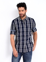 Indian Terrain Men Navy & Grey Checked Slim Fit Casual Shirt