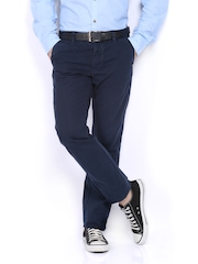 Indian Terrain Men Navy Brooklyn Slim Fit Trousers