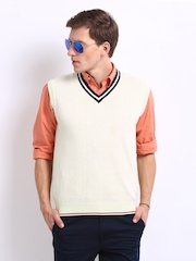 Indian Terrain Men Off-White Sleeveless Sweater