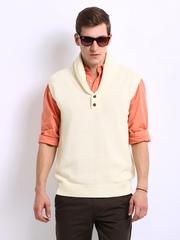 Indian Terrain Men Off-White Sleeveless Sweater