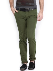 Indian Terrain Men Olive Green Brooklyn Slim Fit Trousers