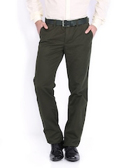 Indian Terrain Men Olive Green Kansas Slim Fit Trousers