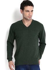 Indian Terrain Men Olive Green Lambswool Sweater