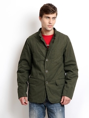 Indian Terrain Men Olive Green Padded Jacket