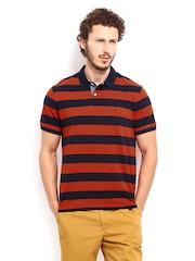 Indian Terrain Men Orange & Navy Striped Polo T-shirt