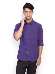 Indian Terrain Men Purple Slim Fit Smart-Casual Shirt