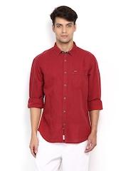 Indian Terrain Men Red Linen Blend Slim Fit Casual Shirt