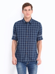 Indian Terrain Men Blue Checked Slim Fit Casual Shirt