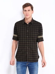 Indian Terrain Men Brown & Black Checked Slim Fit Casual Shirt
