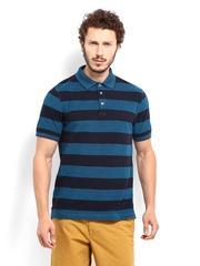 Indian Terrain Men Teal Blue Striped Polo T-shirt