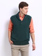 Indian Terrain Men Green Sleeveless Sweater