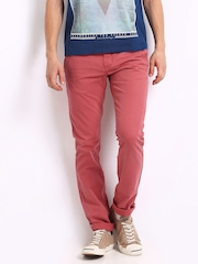 Indian Terrain Men Coral Red Brooklyn Slim Fit Casual Trousers