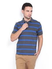 Indian Terrain Men Grey & Blue Striped Polo T-shirt