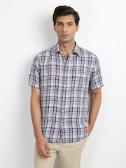 Indian Terrain Men White & Blue Checked Linen Slim Fit Casual Shirt