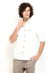 Indian Terrain Men White Striped Slim Fit Casual Shirt