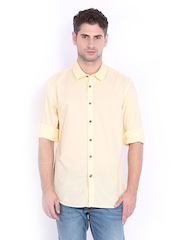 Indian Terrain Men Yellow Slim Fit Casual Shirt