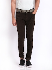 Indigo Nation Men Brown Slim Fit Corduroy Trousers