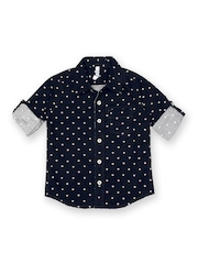 Inmark Boys Navy Printed Shirt