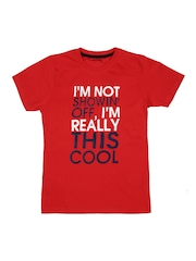 Inmark Boys Red Printed T-shirt