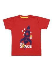 Inmark Boys Red Printed T-shirt