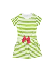 Inmark Girls White & Green Striped Dress